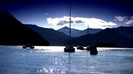 Boats On Sparkling Water 01 Stock Footage
