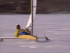 Extreme winter sport, Ice sail boat #6 flyby close Stock Footage