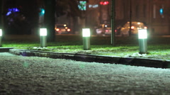 Nighttime streets of the city. Winter. Stock Footage