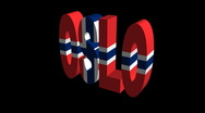 Stock Video Footage of Oslo flag text rotating on black animation