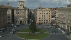 Christmas tree going up in Rome Stock Footage