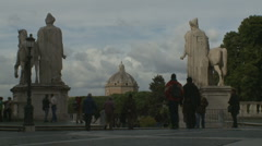 statues of Castor and Pollux in Piazza del Quirinale Stock Footage
