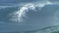 Guy Pulls Into Huge Wave At Jaws Stock Footage