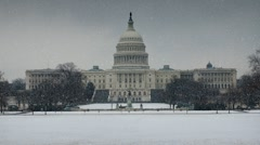 SNOWY US CAPITOL - stock footage