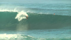 Bodyboarder Does Huge Air At Pipeline Stock Footage