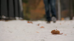 Walking through snow 02 - stock footage