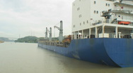 Stock Video Footage of Panama Canal: Passing a container ship