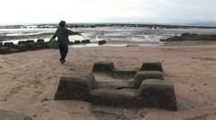 Kinmen taiwan anti tank defences on the beach 2 Stock Footage