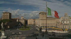 View from Victorio Emmanuele II in Rome of Roundabout Stock Footage