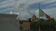 View of Italian flag from Victorio Emmanuele II in Rome Stock Footage