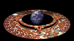 The Earth Surrounded by the Mayan Doomsday Calendar (technically Aztec not(2012) Stock Footage