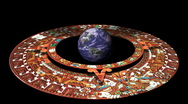 Stock Video Footage of The Earth Surrounded by the Mayan Doomsday Calendar (technically Aztec not(2012)