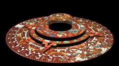 Mayan Doomsday Calendar (technically Aztec not Mayan) Rotates in 3D Stock Footage