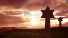 Stars of David on a hill Stock Footage
