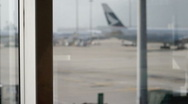 Stock Video Footage of Airport runway framed by window