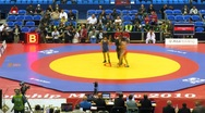 Woman wrestlers on 2010 FILA Wrestling World Championships Stock Footage