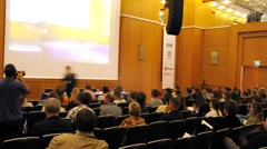 Audience listens to speaker at II International Conference STOCKinRUSSIA10 Stock Footage
