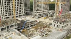 Construction site at Losiniy Ostrov estate Stock Footage