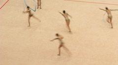 Gymnasts with ribbons on XXX World Rhythmic Gymnastics Championship - stock footage