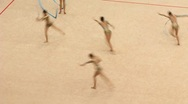 Gymnasts with ribbons on XXX World Rhythmic Gymnastics Championship Stock Footage