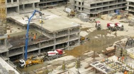 Workers pour concrete at Losiniy Ostrov estate Stock Footage