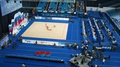 Gymnasts with ribbons on XXX World Rhythmic Gymnastics Championships - stock footage