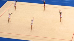 Stock Video Footage of Gymnasts with hoops on XXX World Rhythmic Gymnastics Championships
