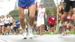Legs of participants of XXX MOSCOW INTERNATIONAL PEACE MARATHON Stock Footage