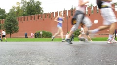 Legs of runners on XXX MOSCOW INTERNATIONAL PEACE MARATHON Stock Footage