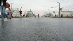 Runners in center of Moscow train before marathon Stock Footage