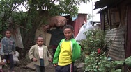 Stock Video Footage of African shanty town boys portrait
