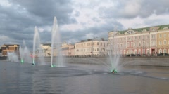 View from boat on fountains in Moscow Vodootvodnoy canal Stock Footage