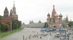 Peace marathon participants in front of Saint Basil's Cathedral Stock Footage