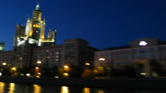 Kotelnicheskaya Embankment at evening Stock Footage