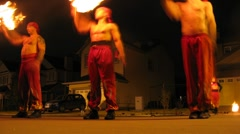 Exotic fireshow of theater of stuntmenat Yarfilm on Halloween Party Stock Footage