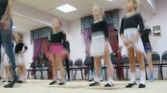 Group of girls warm-up before dancing classes Stock Footage
