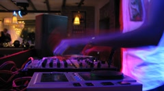 DJ panel during wedding party in nightclub Stock Footage