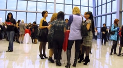 Women stand at table on Wella Trend Vision Award 2010 Stock Footage
