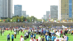 Participants of Big races at stadium Yantar in Strogino Stock Footage