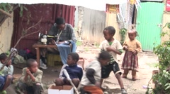 African children in a slum Stock Footage