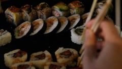 Sushi for dinner Stock Footage