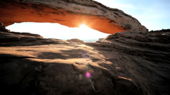 Sunrise on Mesa Arch Sandstone Formation, Utah - stock footage