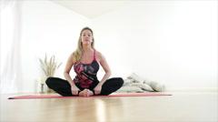 Yoga Shoulder Flexibility Stretch - stock footage