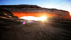 Desert Sunrise Through the Mesa Arch Stock Footage