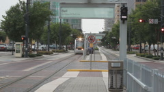 Editorial: Houston Light Rail Train Northbound on Red Line for Bell Station Stock Footage