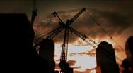 New York-Cranes Sunset Stock Footage