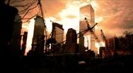 New York-Ground Zero-Cranes-intersection Stock Footage