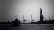 Stock Video Footage of New York-Statue of Liberty BW