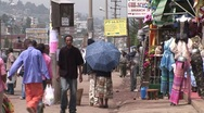 African street and shops in Addis Ababa Stock Footage