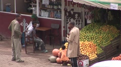 African produce shop in Addis Ababa Stock Footage